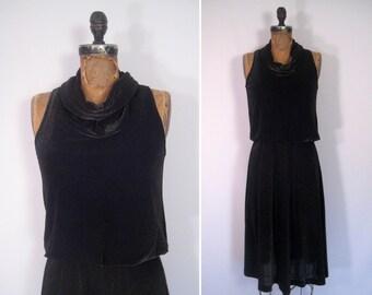 1970s noir metallic disco dress • 70s black gold party dress • vintage last call dress