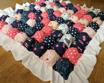 Bubble Blanket - Biscuit Quilt - Navy Pink and White - Cats and Yarn Baby Blanket with White Ruffle and Pink Backing - Ready to Ship