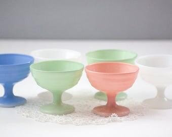 Hazel Atlas, Moderntone, Platonite pastel dessert cups, milk glass sherbet cups