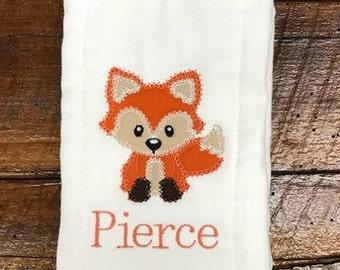 Fox Burp Cloth Rag in Orange & Cream