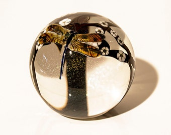 """Limited Edition Zellique """"Dragonfly"""" Glass Paperweight"""