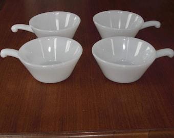 Set of 4 Vintage Milk Glass Individual Soup Bowls Ramekins