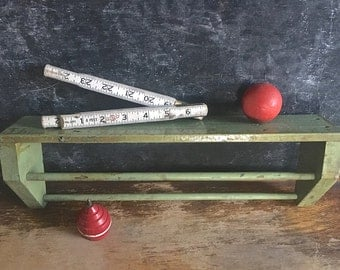 Vintage Wood Shelf Towel Rack Small Chippy Green Paint Distressed