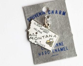 Vintage Montana Cloisonne Souvenir State Charm