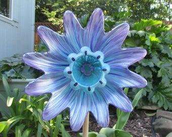 Garden Decor, Glass Plate Flower Garden Art - Hand Painted  Purple Lilac & Blue Green - Garden Sculpture - Outside Decoration - Garden Gift