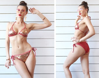 VICTORIAS SECRET vintage clay red copper sequin beaded two piece bikini swimsuit S M