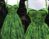 Tiki dress, new, made from vintage pattern, novelty fern fabric, Medium