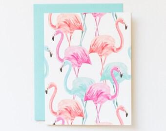 Flamingo Note Card, Flamingo Stationery - Tropical Card - Flamingo Party - Pink Flamingo Note Card - Flamingo Birthday - Flamingo Stationary