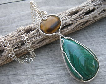 Malachite & Tiger Eye Pendant, .925 Sterling Silver, Midwife Stone, LARGE Wire Wrapped Pendant, Green Brown Pregnancy Pendant, READY To SHIP