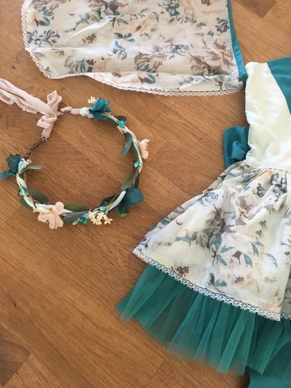 Teal flower crown- Well dressed wolf Flora Fairy- Flower crown- Floral crown- - Flower Girl- Spring Wedding- Dollcake -tutu du m