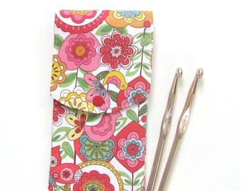 Knitting needles case, Crochet hooks holder, Birds, Pink flowers  Sewing notions storage case, organizer