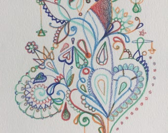 Abstract Colored Pencil Drawing on Watercolor Paper