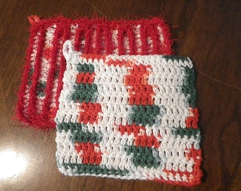 Dishcloths (One Scrubby) Set of Two in Christmas Colors with Loop for Hanging Crochet Dish Cloths