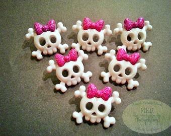 Skull Crossbones Buttons Pink Bow Embellishments set of 6 Halloween Miniatures