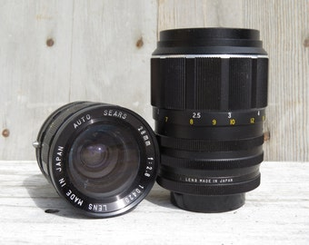 SALE Pair of vintage Sears Camera Lenses, 135mm & 28mm