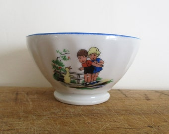 Vintage french LITTLE Bowl, Porcelain, France, 1950, Children, Café au lait, Bol ancien, Farm house, Kitchen