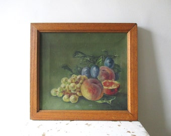 1936 Vintage french oil painting on canvas with frame, Still life, Fruits, Signed, France, Huile, Peinture, Nature morte