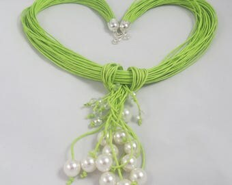 Rain of Pearls & Lime green thread necklace