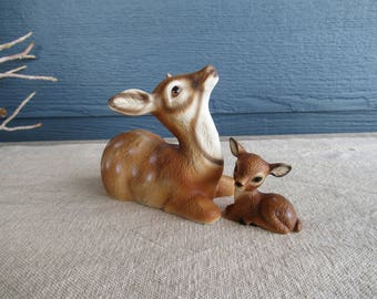 Vintage Collectable Ceramic Deer Figurines, Mama Deer and Fawn, Retro Kitschy Home Decor