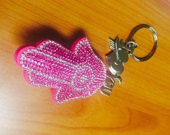 Valentine Day gift Valentine gift for her Pink Hamsa Chamsa Protection Hand of Fatima I love you keychain