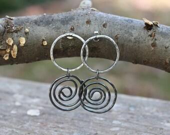 SALE - Sterling Silver Modern Spiral Earrings