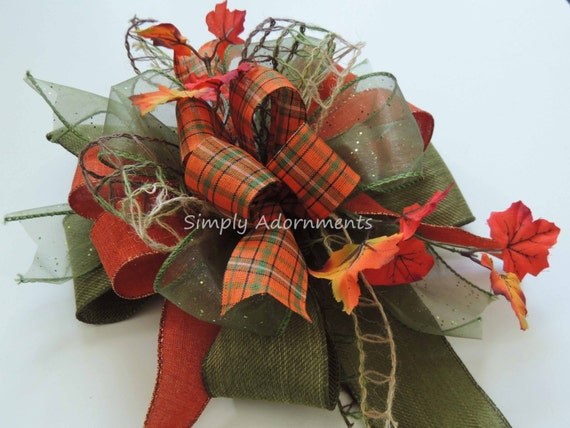 Whimsical Green Orange Fall Bow Fall Lantern Bow Funky Fall leaves door hanger Bow Thanksgiving Wreath Bow Maple Leaves Wedding Bow Gift bow