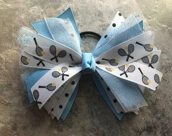 Blue Tennis bow - Tennis hair bow -  blue tennis hair bow - tennis hairbow - tennis hair tie - tennis ponytail - tennis ribbon