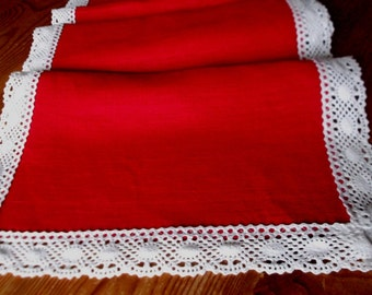 Linen table runner red home decor natural washed linen with white lace tablecloth gift ideas