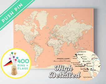 Custom World Map Push Pin Canvas Pink Color - Ready to Hang - High Detailed - 240 Pins + 198 World Flag Sticker Pack Included