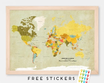 Custom World Map Poster Vintage  - Travel World Map - Stickers Included  - Gift Idea