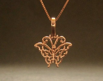 ROSE gold Butterfly pendant, solid 14k rose necklace, recycled gold handmade in USA
