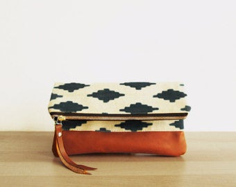 Tribal Print, Clutch bag, Fold over clutch, Ikat print, Canvas and faux leather clutch, Clutch purse, Boho