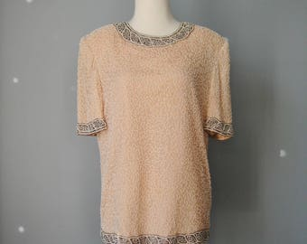 Peach Beaded Top / Vtg 80s / Camille Marie Peach Silk Short Sleeve Beaded Top / Size Large