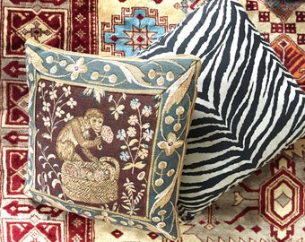 Tropical Vintage Monkey Tapestry Pillow