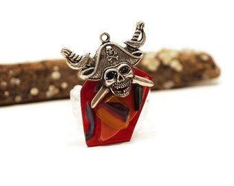 Red and Orange Glass Pirate Pendant, Pirate Charm, Jewelry Making, Fused Glass Pirate, Textured Glass Pirate, Halloween Pendant, Skull Charm
