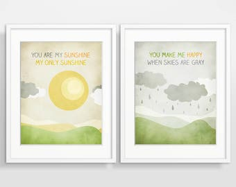 You Are My Sunshine Wall Art Nursery Decor Set of 2 Prints Baby Shower Gift Kids Room Decor Nursery Art New Baby Gift Kids Wall Art