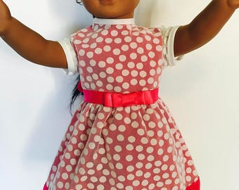 American girl, 18 inch doll dress.  Pink/white mesh polka dotted dress.
