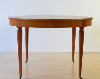 Figured Cherry Regency Dining Table w/ Hexagonal Legs & Brass Sabots