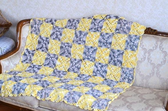 Granny square Afghan, crochet Afghan blanket, crochet baby blanket, yellow and Grey crochet rug, square Afghan rug blanket