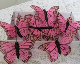 Butterflies 4 inch Wide Pink Butterflies without wire Stems, Butterflies for Crafts,  Wedding Butterfly Projects and Party Favors