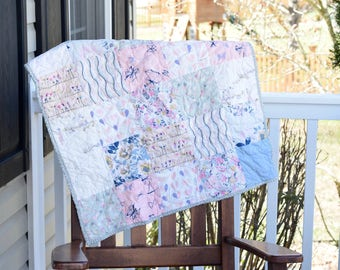 Baby Girl Quilt- Ready to ship Quilt, Pink quilt, Gray quilt, Heart quilt, Pastel  quilt, Baby girl shower gift, Modern Quilt, baby blanket