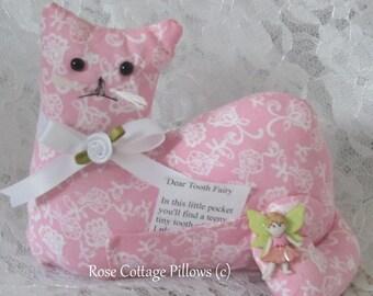 Tooth Fairy Pillow, Cat Shape Pillow, Cat Doll, Bedroom Pillow, Pink Cat