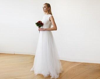 Ivory Tulle and Lace Sleeveless Maxi Bridal Gown, Lace and tulle bridal maxi gown  1145