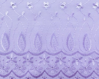 Cotton Embroidered Eyelet Lavender 42 Inch Fabric by the yard - 1 Yard