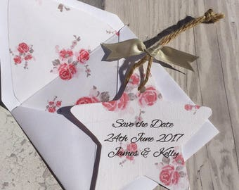 Star Country Rose Save the Date with Rose Print Envelope Liner