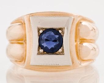 Men's Vintage Ring - Vintage 10k Rose and White Gold Men's Blue Sapphire Ring