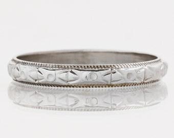 Antique Wedding Band - Antique 20k White Gold Engraved Wedding Band