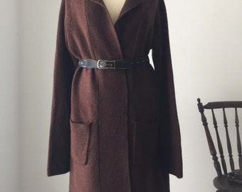 Long Cardigan , Cardi, Sweater Coat, Wool Cardigan , Cardie Wool Coat, Knit Long Cardigan Brown S\M , Long Sweater by Boden