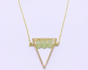Geometric Necklace with Mint Green Crystals