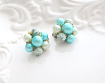 EARRINGS, Vintage, Faux Pearl Turquoise/Aqua Clip On Earrings, Summer Wear, Gifts for Her,